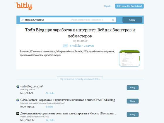 сокращение ссылок Bit.ly