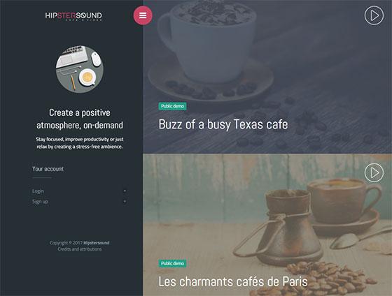 Сервис Hipster sound cafes vides - шум кафе и ресторана