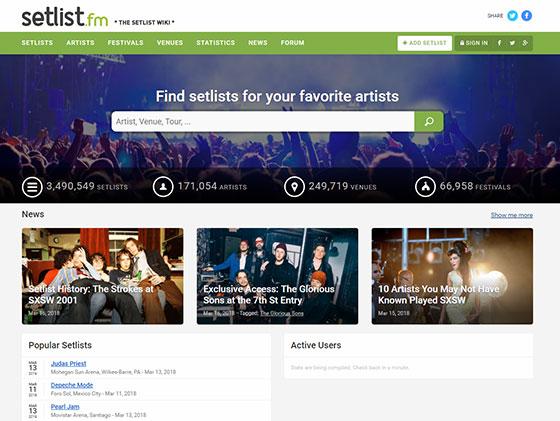 Setlist.fm - сетлисты концертов