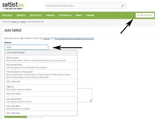 Setlist.fm - добавляем сетлист