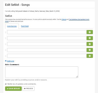 Сервис Setlist - добавление списка песен с концерта