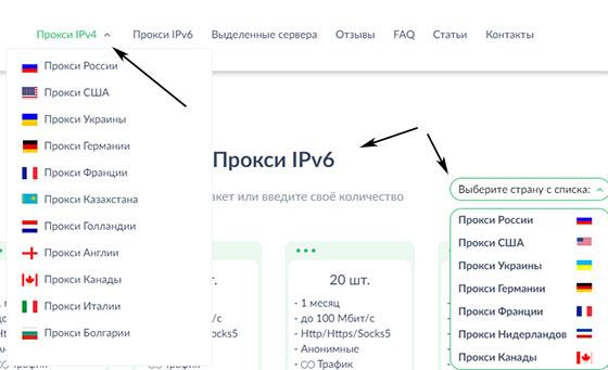 Страны прокси IPv4 / IPv6