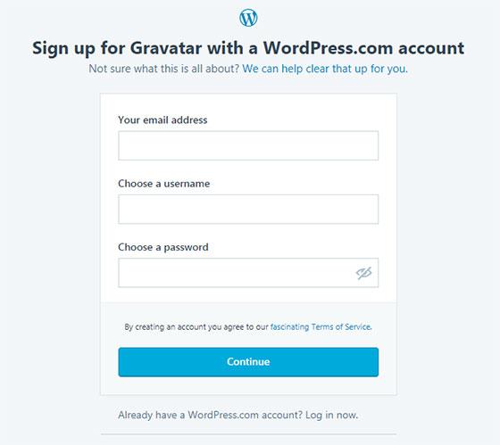 Gravatar.com - регистрация