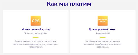 Модели оплаты Propush.me