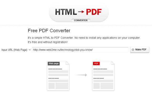Онлайн конвертор в PDF из HTML