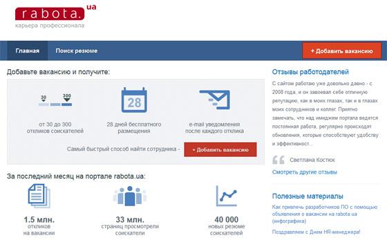Сервис Rabota.ua работодателям