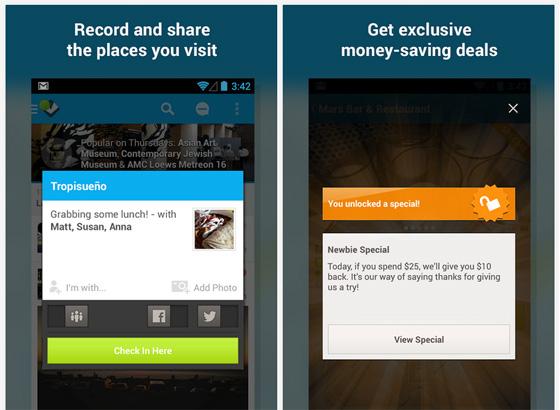Foursquare - чекины
