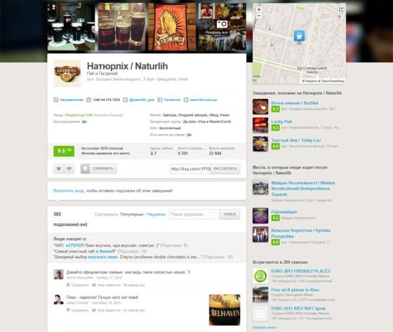 Foursquare - отзывы и страница заведения