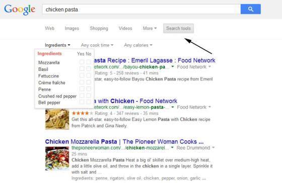 поиск по рецептам от Google