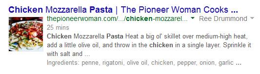 Разметка Google Recipe View