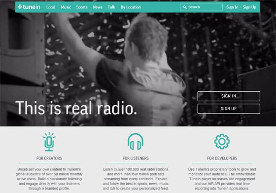 Tunein - трансляция онлайн радио