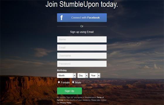 Регистрация в StumbleUpon