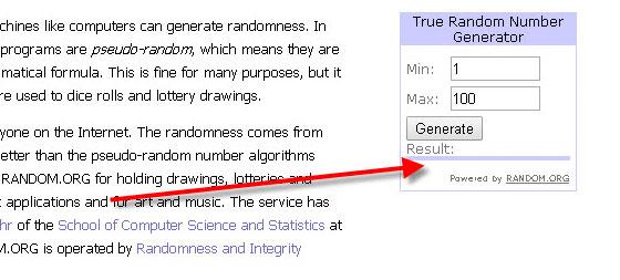 форма генератора чисел