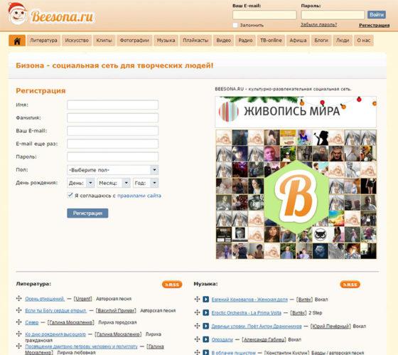 Бизона - социальная сеть для творческих людей