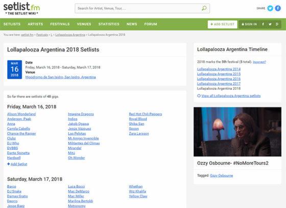 Сетлист.фм - информация по фестивалям