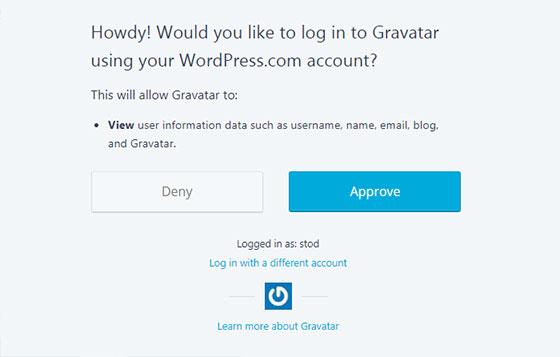 Gravatar.com - логин в систему