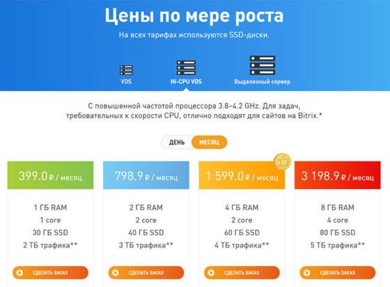 Тарифы VDSina.ru