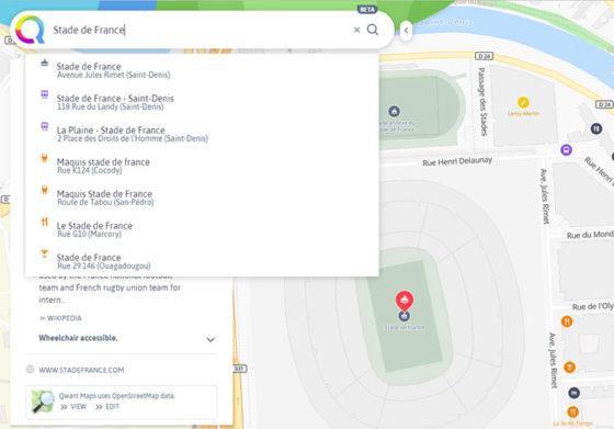 Сервис Qwant Maps